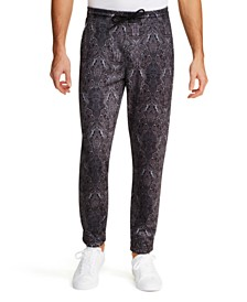 Tallia Men's Tapered Stretch Ornate Paisley Jogger Pants