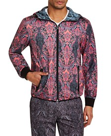 Tallia Men's Slim-Fit Stretch Ornate Paisley Hoodie Jacket