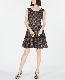I.N.C. Sequined Lace Fit & Flare Dress, Created for Macy's
