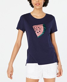 Maison Jules Sequined Watermelon T-Shirt, Created for Macy's