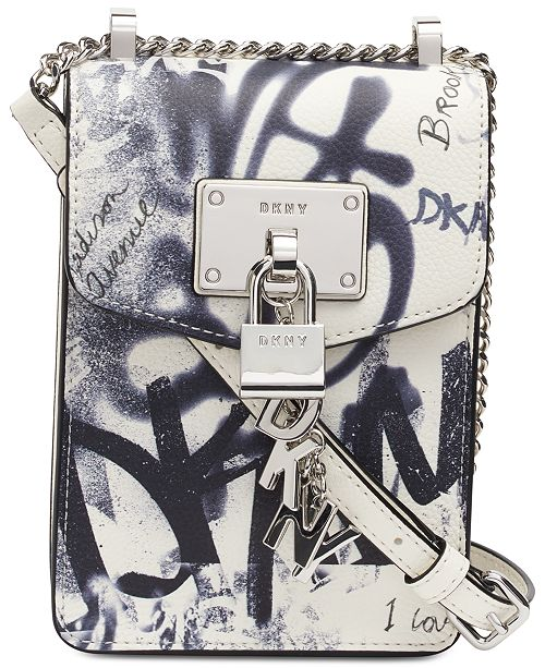 DKNY Elissa Graffiti Logo North-South Leather Crossbody, Created for Macy's