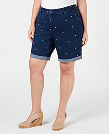 Plus Size Star-Embroidered Cuffed Shorts, Created for Macy's