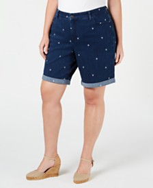 Charter Club Plus Size Star-Embroidered Cuffed Shorts, Created for Macy's