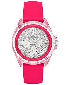 Michael Kors Women's Wren Neon Pink Silicone Strap Watch 42mm