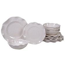 Perlette Cream Melamine 12-Pc. Dinnerware Set