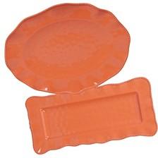 Perlette Coral Melamine 2-Pc. Platter Set - Rectangular and Oval