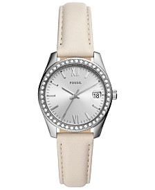 Fossil Women's Scarlette Mini Winter White Leather Strap Watch 32mm