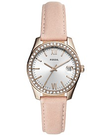Fossil Women's Scarlette Blush Leather Strap Watch 32mm