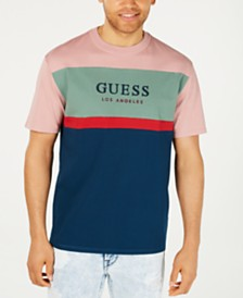 GUESS Men's Oversized Colorblocked Logo T-Shirt