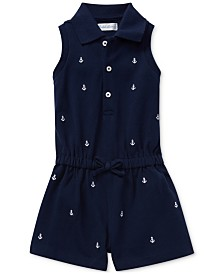 Polo Ralph Lauren Baby Girls Embroidered Piqué Cotton Romper