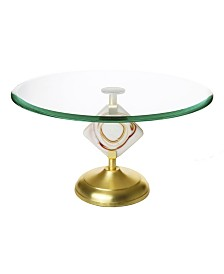 Classic Touch Glass Cake Stand with Agate Stone Stem