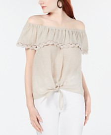 BCX Juniors' Off-The-Shoulder Gauze Top