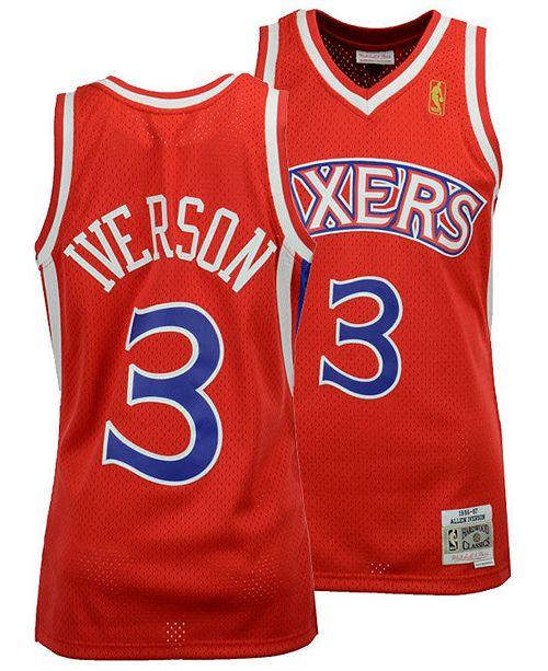 online retailer 384b5 92e8a Big Boys Allen Iverson Philadelphia 76ers Hardwood Classic Swingman Jersey