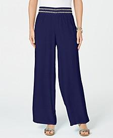 Metallic-Detail Wide-Leg Gauze Pants, in Regular & Petite, Created for Macy's