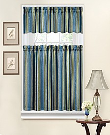"Stripe Ensemble 26"" x 36"" Tier & 52"" x 14"" Valance Set"