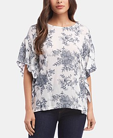 Ruffle-Sleeve Gauze Top