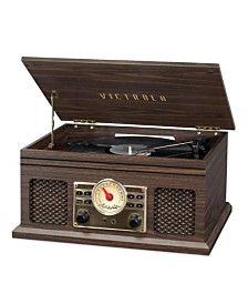 Victrola 4-in-1 Nostalgic Bluetooth Record Player with 3-Speed Record Turntable and FM Radio