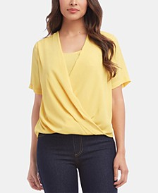Faux-Wrap Crepe Top
