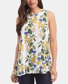 Karen Kane Floral-Print Ruffled-Hem Top