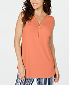 JM Collection Petite Sleeveless Zip Top, Created for Macy's