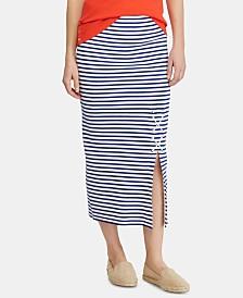 Lauren Ralph Lauren Lace-Up Striped Skirt