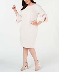 Calvin Klein Plus Size Embellished Bell-Sleeve Dress