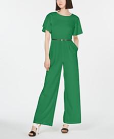 Calvin Klein Ruffle-Sleeve Jumpsuit