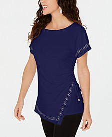 Embellished Ruched Side-Tie Top, Created for Macys