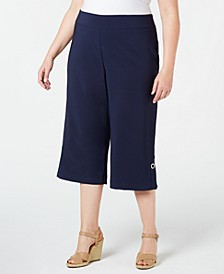 Plus Size Wide-Leg Cropped Pants, Created for Macy's
