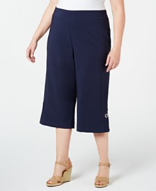 JM Collection Plus Size Wide-Leg Cropped Pants, Created for Macy's