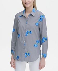 Calvin Klein Floral Button-Up Blouse