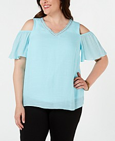 JM Collection Plus Size Studded Cold-Shoulder Top, Created for Macy's