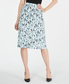 Kasper Printed A-Line Skirt