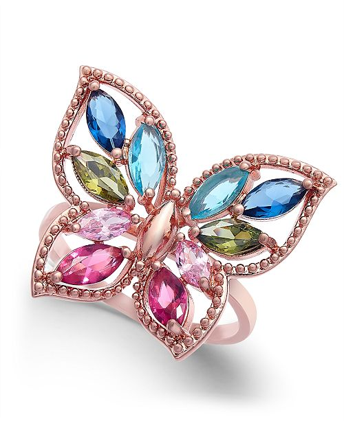 Charter Club Rose Gold-Tone Multicolor Crystal Butterfly Ring, Created for Macy's
