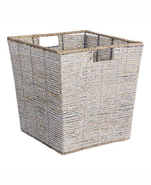 Design Import Seagrass Bin Metallic, Trapezoid