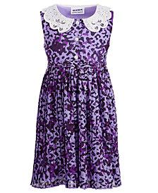 Blueberi Boulevard Toddler Girls Pleated Leopard-Print Chiffon Dress