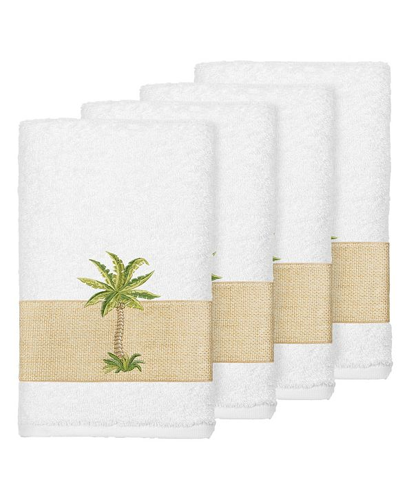 Linum Home Turkish Cotton Colton 4-Pc. Embellished Hand Towel Set