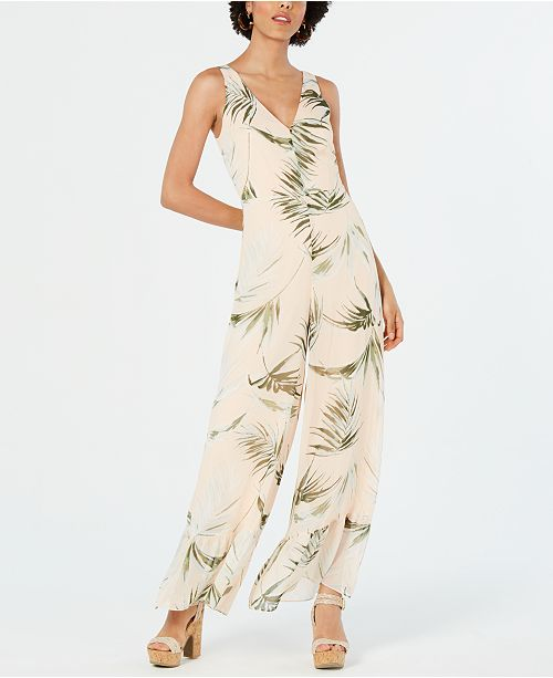 Avec Les Filles Palm-Print Flounce Jumpsuit