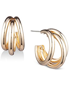 Gold-Tone Multi-Row Small Hoop Earrings