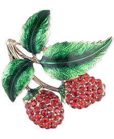 Anne Klein Gold-Tone Pavé Cherries Pin, Created for Macy's
