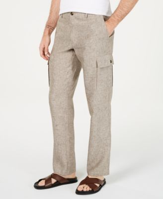 Men's Chambray Linen Cargo Pants, Created for Macy's