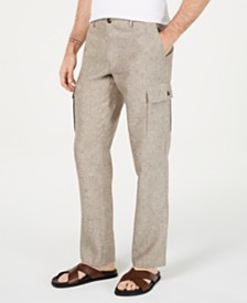 Tasso Elba Men's Chambray Linen Cargo Pants, Created for Macy's