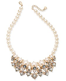 """Gold-Tone Crystal & Imitation Pearl Statement Necklace, 17"""" + 2"""" extender, Created for Macy's"""