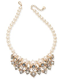 "Charter Club Gold-Tone Crystal & Imitation Pearl Statement Necklace, 17"" + 2"" extender, Created for Macy's"