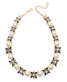 "Charter Club Gold-Tone Imitation Pearl & Crystal Floral All-Around Necklace, 17"" + 2"" extender, Created for Macy's"