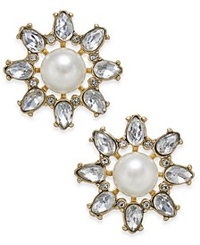 Gold-Tone Imitation Pearl & Crystal Starburst Stud Earrings, Created for Macy's