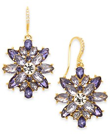 Charter Club Gold-Tone Purple Crystal Drop Earrings, Created for Macy's