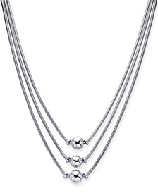 "Silver-Tone Sphere Three-Row Necklace, 17"" + 2"" extender, Created for Macy's"