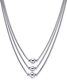 "Alfani Silver-Tone Sphere Three-Row Necklace, 17"" + 2"" extender, Created for Macy's"
