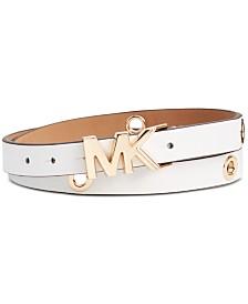 MICHAEL Michael Kors Leather Logo Collar Grommet Belt